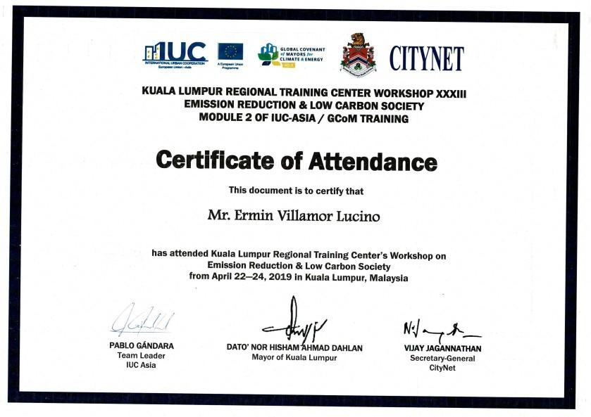 Certificate of Attendance (Kuala Lumpur Malaysia)