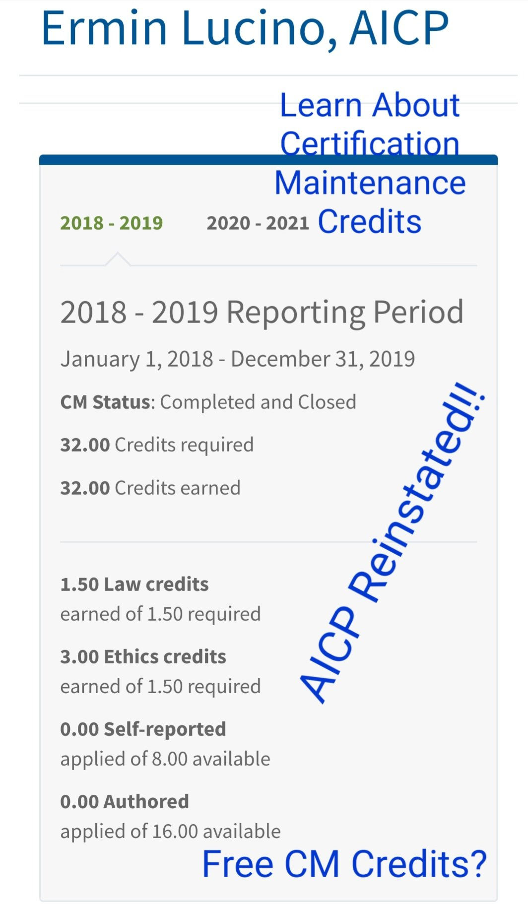 How I complied with the American Institute of Certified Planners (AICP) Required Certification Maintenance (CM) for FREE and Reinstated myAICP